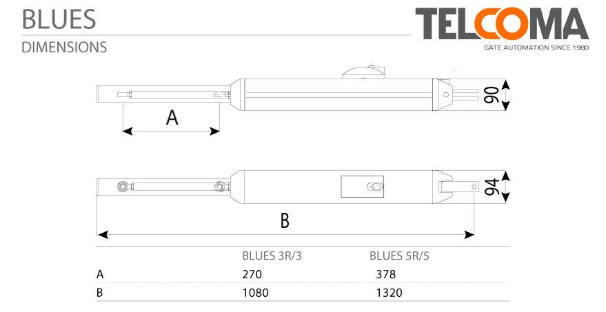 מנוע הידראולי רב עוצמה לשער כנף - Telcoma BLUES3 - מפרט טכני מידות המנוע