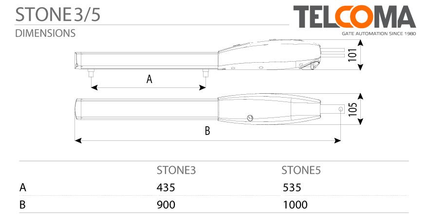 מנוע חשמלי אלקטרומכני לשער כנף - Telcoma STONE5 - מידות וגדלים