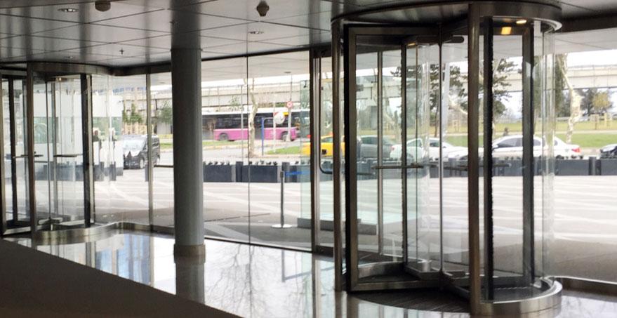 דלת מסתובבת ידנית מזכוכית
